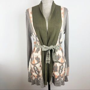 BKE Boutique Cardigan Sweater Army Green Animal